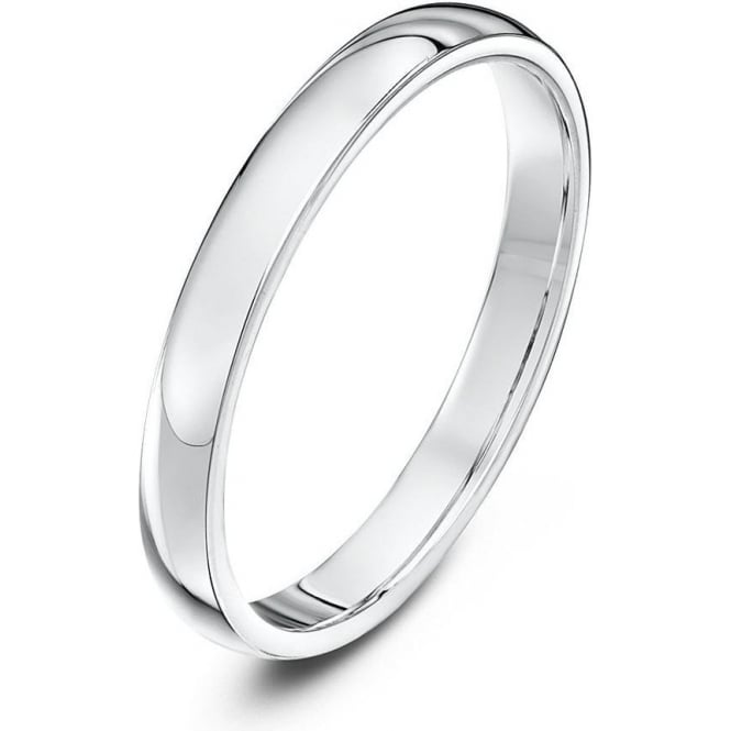 Star Wedding Rings 18ct White Gold Heavy Court Shape 2.5mm Wedding Ring