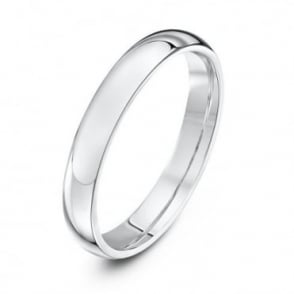 18ct White Gold Heavy Court Shape 3mm Wedding Ring