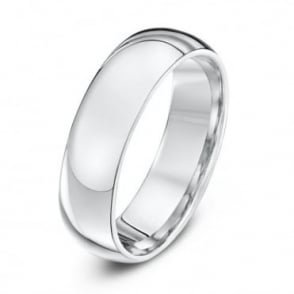 18ct White Gold Heavy Court Shape 6mm Wedding Ring