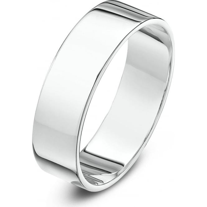 Star Wedding Rings 18ct White Gold Heavy Flat 7mm Wedding Ring
