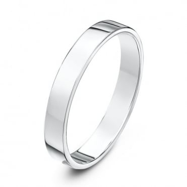 18ct White Gold Heavy Flat Court Shape 3mm Wedding Ring