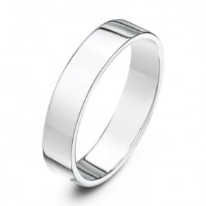 18ct White Gold Heavy Flat Court Shape 4mm Wedding Ring