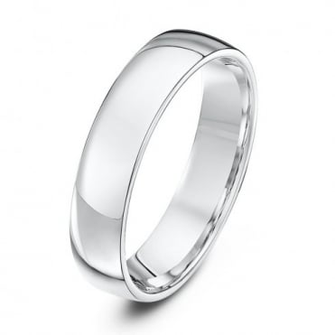 18ct White Gold Light Court Shape 5mm Wedding Ring