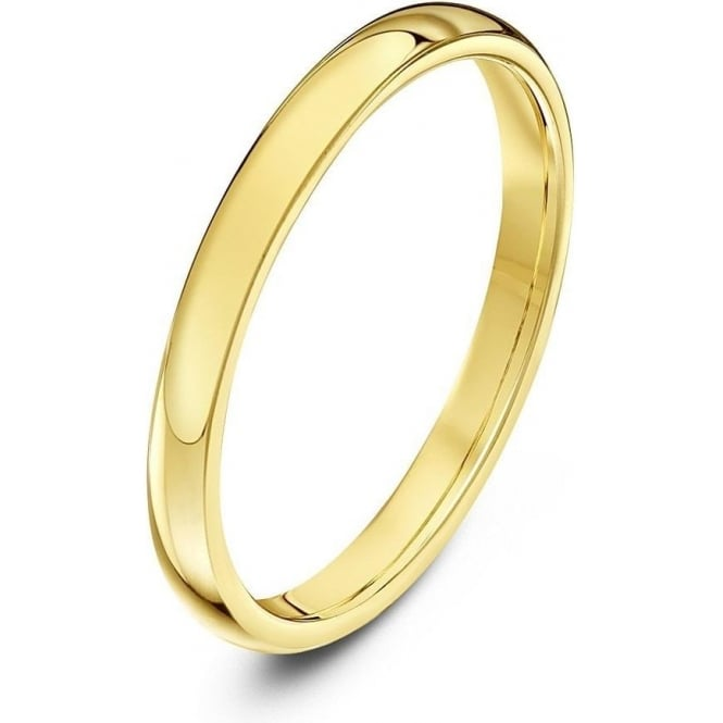 Star Wedding Rings 18ct Yellow Gold Heavy Court Shape 2mm Wedding Ring