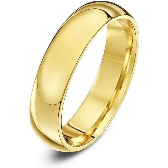 Star Wedding Rings 18ct Yellow Gold Heavy Court Shape 5mm Wedding Ring