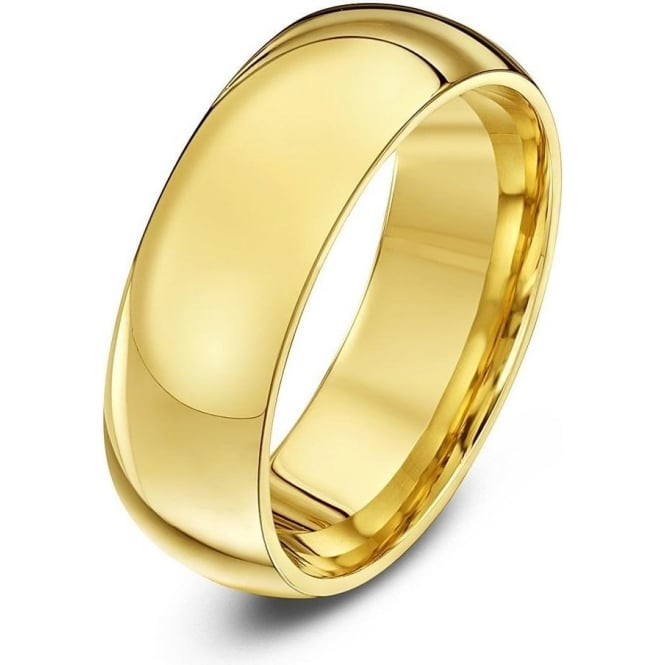 Star Wedding Rings 18ct Yellow Gold Heavy Court Shape 7mm Wedding Ring