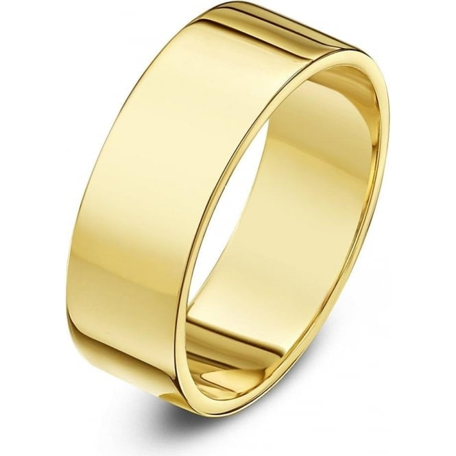 Star Wedding Rings 18ct Yellow Gold Heavy Flat 6mm Wedding Ring