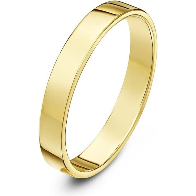 Star Wedding Rings 18ct Yellow Gold Heavy Flat Court Shape 3mm Wedding Ring