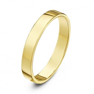 18ct Yellow Gold Heavy Flat Court Shape 3mm Wedding Ring