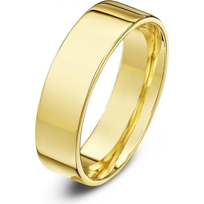 Star Wedding Rings 18ct Yellow Gold Heavy Flat Court Shape 5mm Wedding Ring