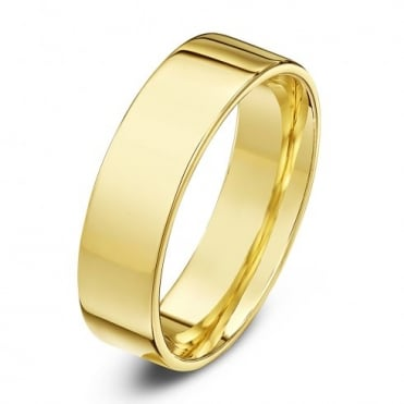 18ct Yellow Gold Heavy Flat Court Shape 5mm Wedding Ring