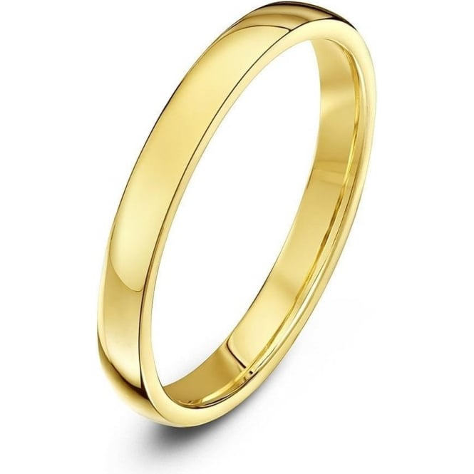 Star Wedding Rings 18ct Yellow Gold Light Court Shape 2.5mm Wedding Ring
