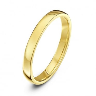 18ct Yellow Gold Light Court Shape 2.5mm Wedding Ring