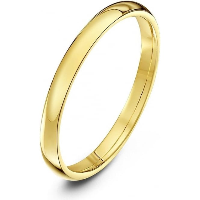 Star Wedding Rings 18ct Yellow Gold Light Court Shape 2mm Wedding Ring