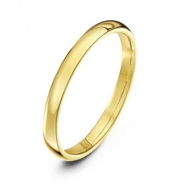 18ct Yellow Gold Light Court Shape 2mm Wedding Ring