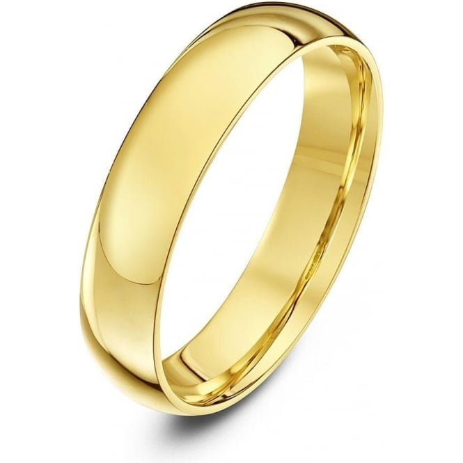 Star Wedding Rings 18ct Yellow Gold Light Court Shape 4mm Wedding Ring