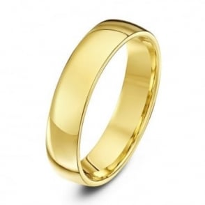 18ct Yellow Gold Light Court Shape 5mm Wedding Ring
