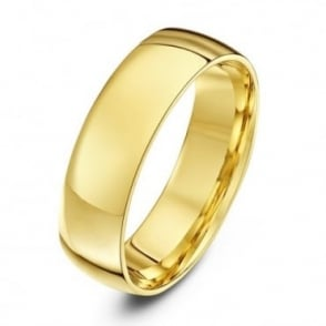 18ct Yellow Gold Light Court Shape 6mm Wedding Ring