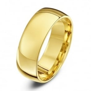 18ct Yellow Gold Light Court Shape 7mm Wedding Ring