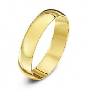 18ct Yellow Gold Light D 4mm Wedding Ring