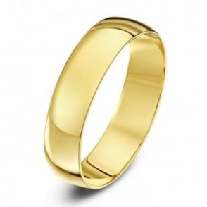18ct Yellow Gold Light D 5mm Wedding Ring