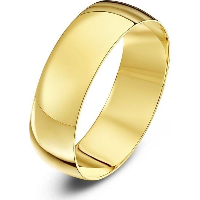 Star Wedding Rings 18ct Yellow Gold Light D 6mm Wedding Ring