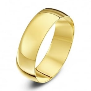 18ct Yellow Gold Light D 6mm Wedding Ring
