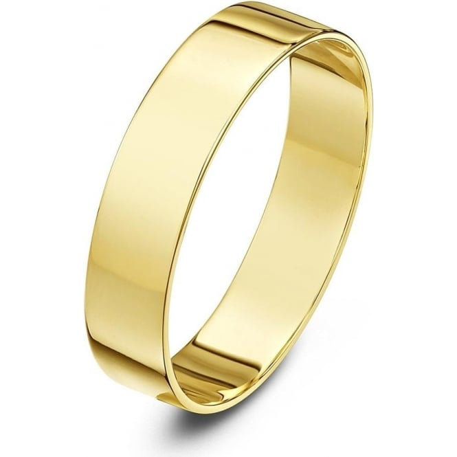 Star Wedding Rings 18ct Yellow Gold Light Flat 5mm Wedding Ring