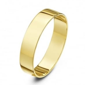 18ct Yellow Gold Light Flat 5mm Wedding Ring