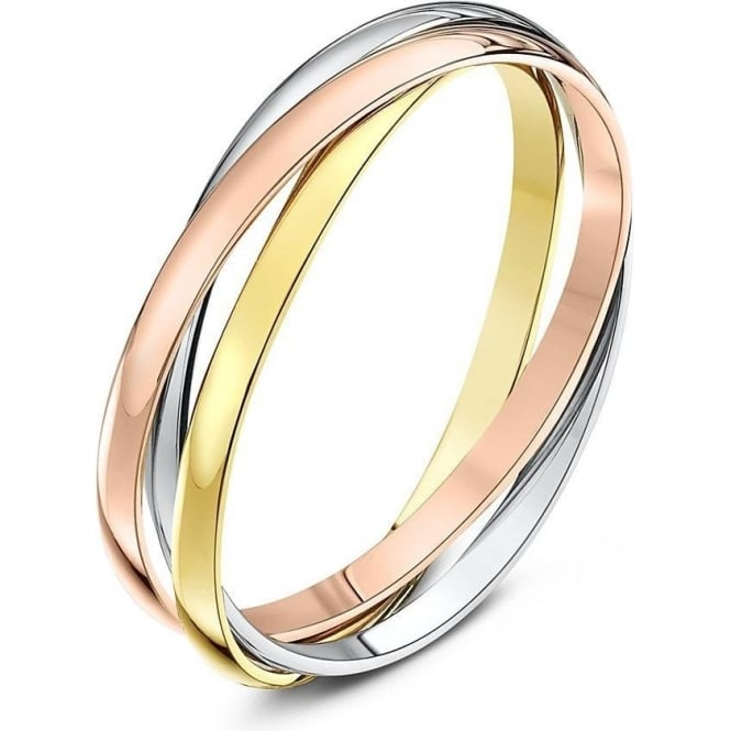 Star Wedding Rings 9ct Three Colour Gold 2mm Russian Wedding Ring