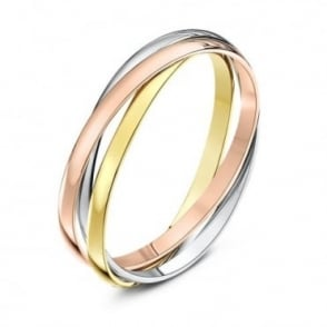 9ct Three Colour Gold 2mm Russian Wedding Ring