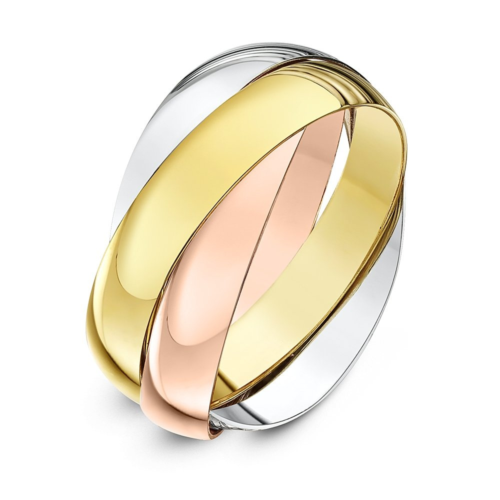 c5872eefaa56b5 9ct Three Colour Gold 4mm Russian Wedding Ring