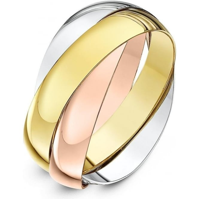 Star Wedding Rings 9ct Three Colour Gold 4mm Russian Wedding Ring