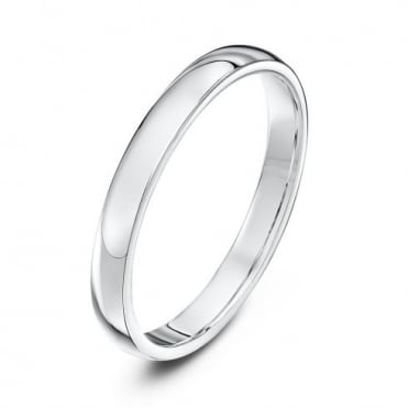 9ct White Gold Heavy Court Shape 2.5mm Wedding Ring