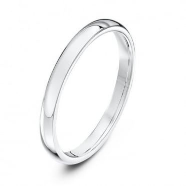 9ct White Gold Heavy Court Shape 2mm Wedding Ring