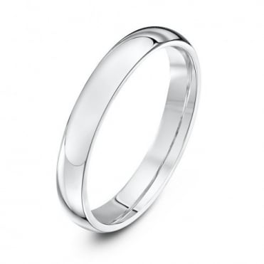 9ct White Gold Heavy Court Shape 3mm Wedding Ring