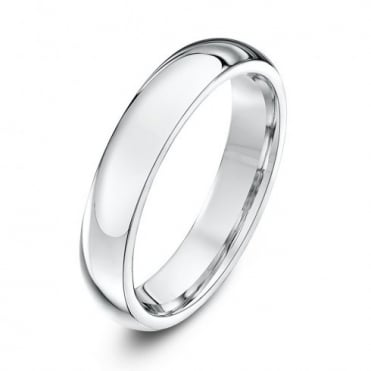 9ct White Gold Heavy Court Shape 4mm Wedding Ring