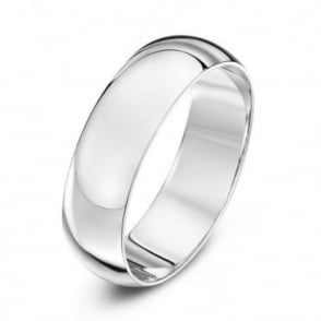 9ct White Gold Heavy D-Shape 6mm Wedding Ring