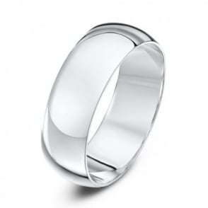 9ct White Gold Heavy D Shape 7mm Wedding Ring