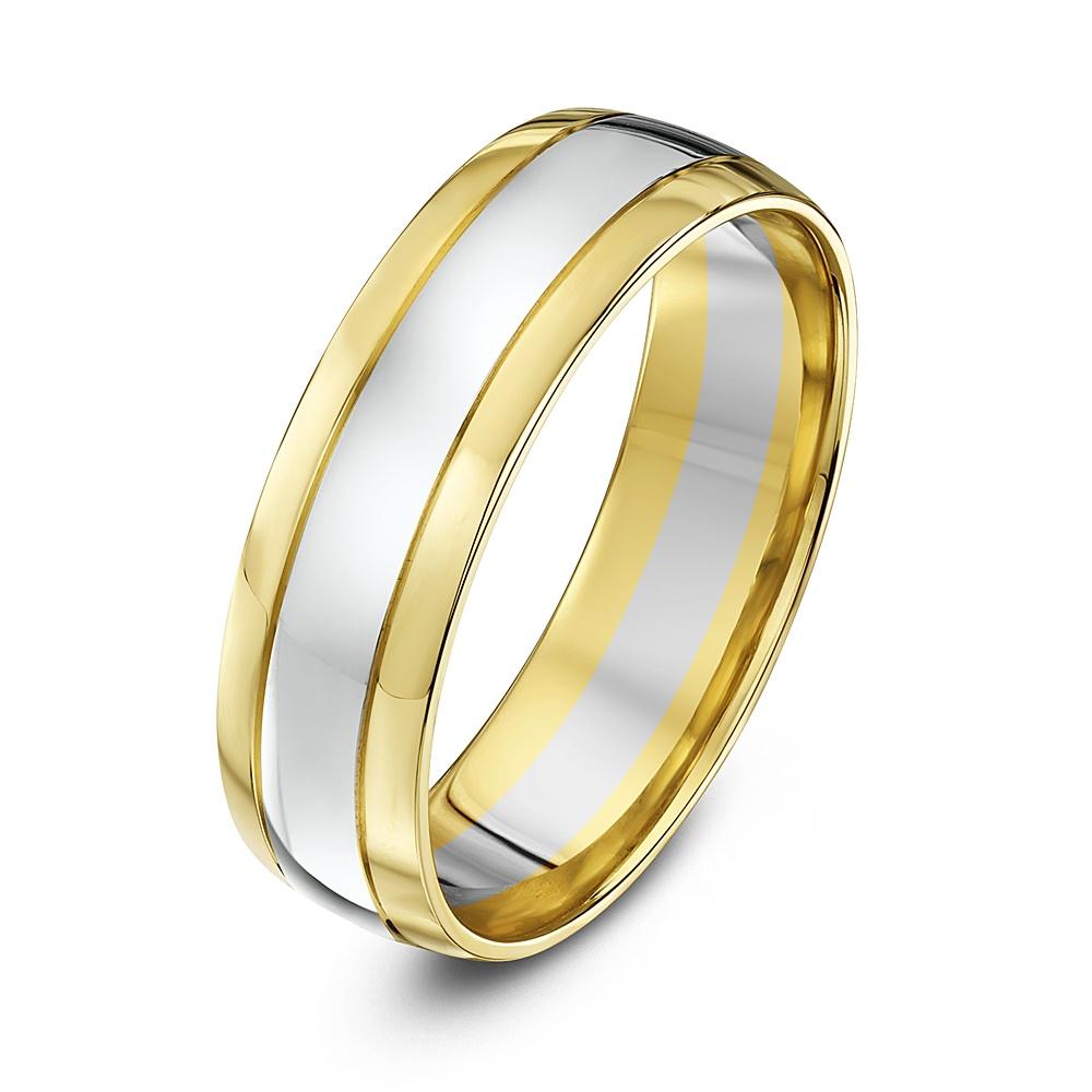 9ct White Amp Yellow Gold Court 6mm Wedding Ring