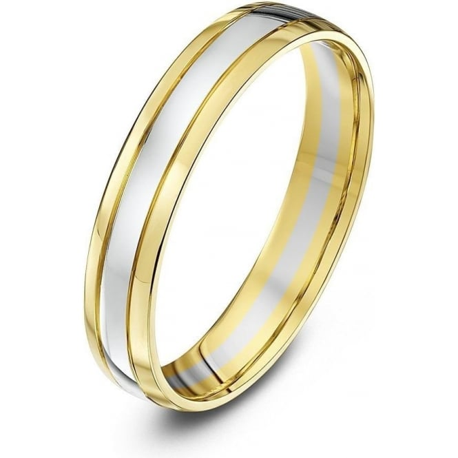 Star Wedding Rings 9ct White & Yellow Gold Court Shape 4mm Wedding Ring