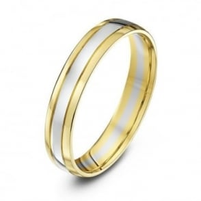 9ct White & Yellow Gold Court Shape 4mm Wedding Ring
