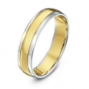 9ct White & Yellow Gold Court Shape 5mm Wedding Ring