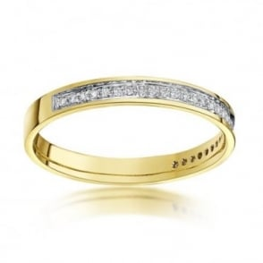 9ct Yellow Gold  3mm Round 0.15 carat Diamond Eternity Wedding Ring