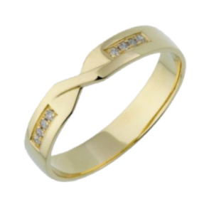 9ct Yellow Gold Diamond  4mm Twist Wedding Ring