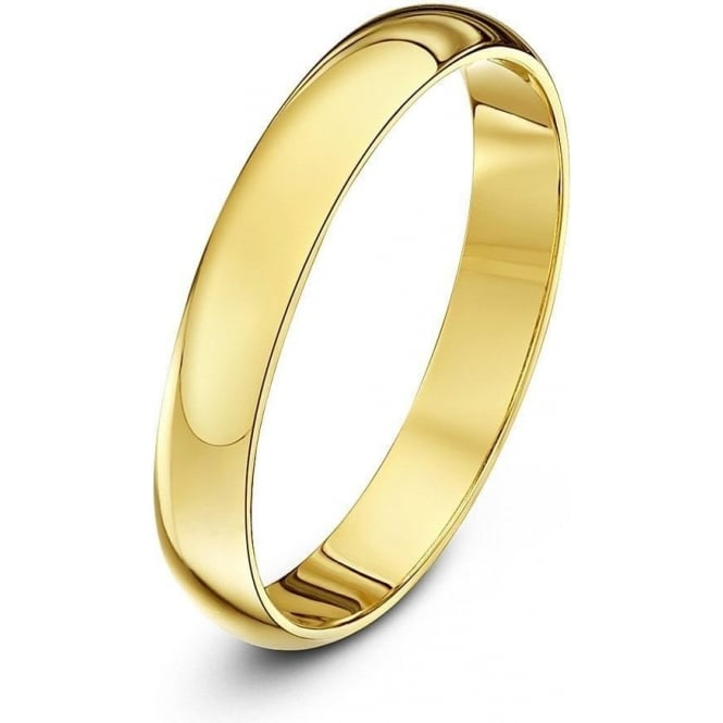 Star Wedding Rings 9ct Yellow Gold Heavy D 3mm Wedding Ring