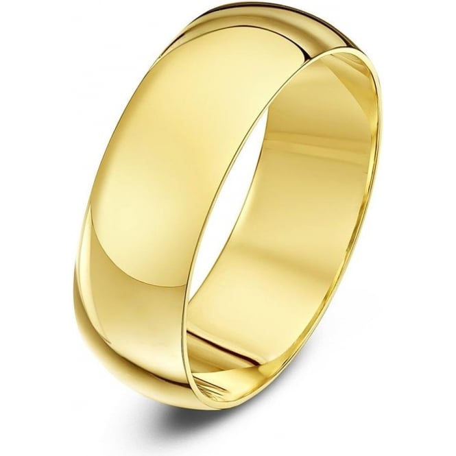 Star Wedding Rings 9ct Yellow Gold Heavy D Shape 7mm Wedding Ring