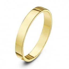 9ct Yellow Gold Heavy Flat 3mm Wedding Ring