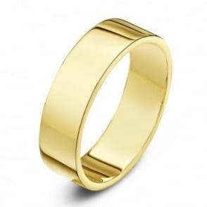 9ct Yellow Gold Heavy Flat 5mm Wedding Ring