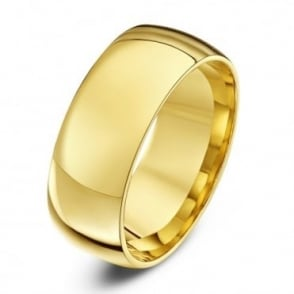 9ct Yellow Gold Light Court Shape 8mm Wedding Ring